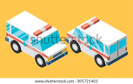 Vector illustration of ambulance car. Isometric view of transport. - stock vector