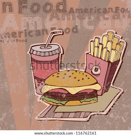 Vector illustration of American food - stock vector