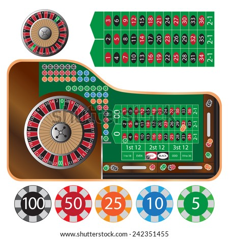 vector illustration of american roulette table and tokens - stock vector