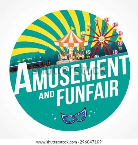 Vector Illustration of amusement and funfair design. - stock vector