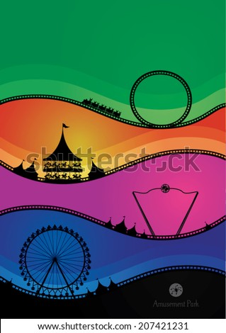 Vector illustration of amusement park. - stock vector