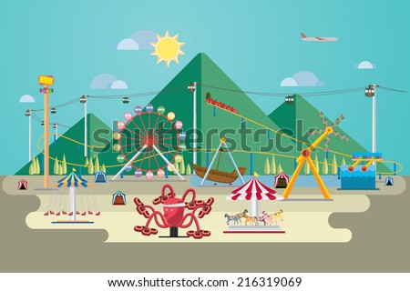 Vector Illustration of amusement park with mountain background.  - stock vector