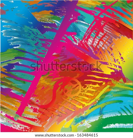 Vector illustration of an abstract aquarelle painting. Collage colorful hand drawn image. - stock vector