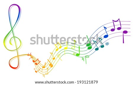 Vector Illustration of an Abstract Background with Colorful Music notes. Musical notes and signs sorted unbound - vector art image illustration eps10, isolated on white background  - stock vector