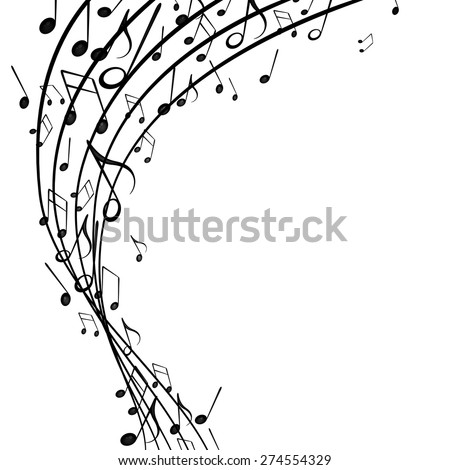 Vector Illustration of an Abstract Background with Music Notes - stock vector