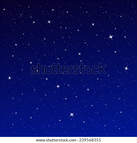 Vector Illustration of an Abstract Background with Night Sky Stars - stock vector