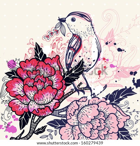 vector illustration of an abstract bird and blooming roses