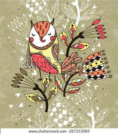 vector illustration of an abstract colorful owl and fantasy plants - stock vector