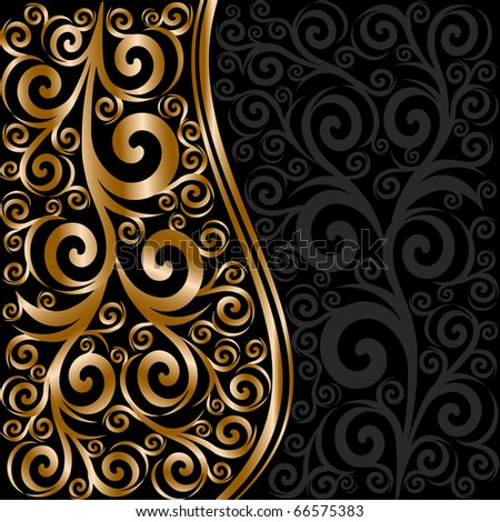 vector illustration of an abstract floral ornament with waves - stock vector