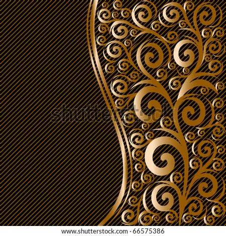 vector illustration of an abstract floral ornament with waves on striped background - stock vector