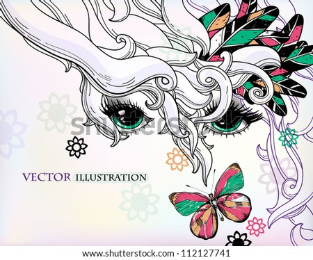 vector illustration of an abstract girl with colorful feathers and a butterfly - stock vector