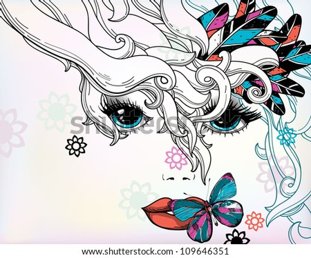 vector illustration of an abstract girl with fantasy  haircut - stock vector