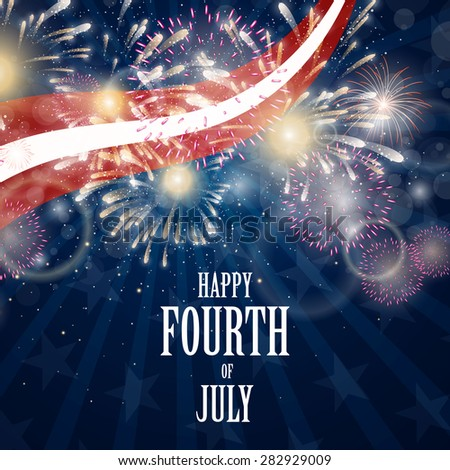 Vector Illustration of an Abstract Independence Day Background with Firework - stock vector