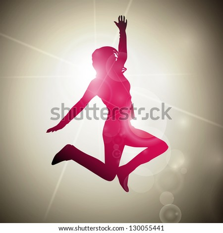 Vector Illustration of an Abstract Jumping Girl - stock vector