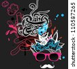 vector illustration of an abstract man in pink glasses with white mustache - stock vector