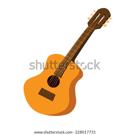 Vector illustration of an acoustic guitar in cartoon style - stock vector