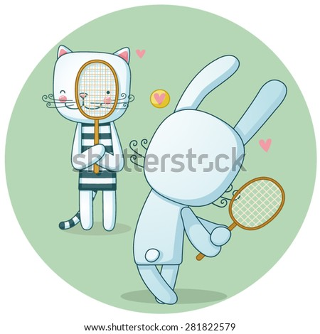 Vector illustration of an active cat and rabbit playing tennis - stock vector