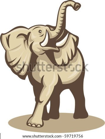 vector illustration of an african elephant charging attacking done in retro woodcut style - stock vector