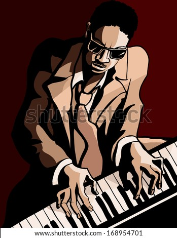 Vector Illustration of an afro american jazz pianist - stock vector