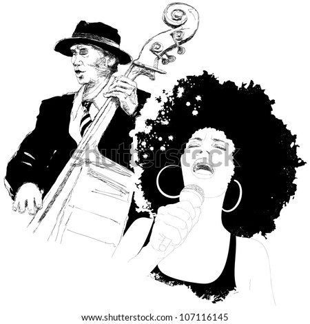 Vector illustration of an afro american jazz singer and a double-bass player