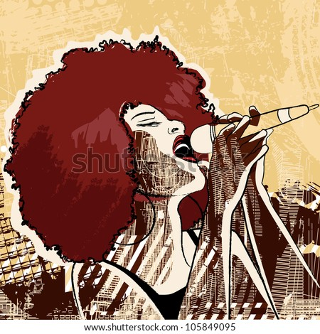 Vector illustration of an afro american jazz singer on grunge background