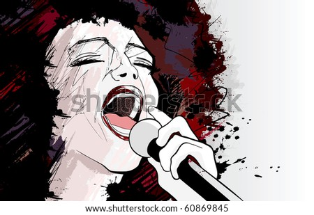 Vector illustration of an afro american jazz singer on grunge background - stock vector