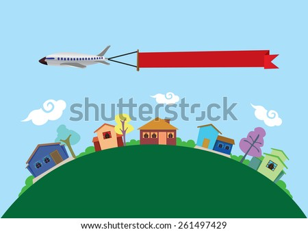Vector illustration of an airplane carrying a blank banner with copy space flying above earth, represented by green curved landscape, and colorful town with fun houses. - stock vector
