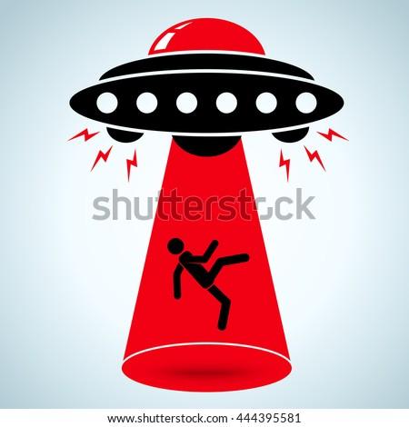 Vector illustration of an alien abduction - stock vector