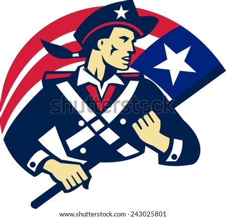 vector illustration of an american patriot minuteman militia revolutionary soldier holding stars and stripes flag of united states done in retro style.  - stock vector