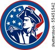 vector   illustration of an American revolutionary soldier with Stars and stripes flag in background set inside a circle - stock photo