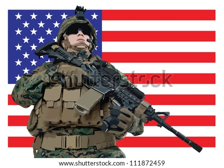 Vector illustration of an american soldier in front of the USA flag - stock vector