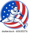 vector  illustration of an American track and field athlete jumping with stars and stripes. - stock photo