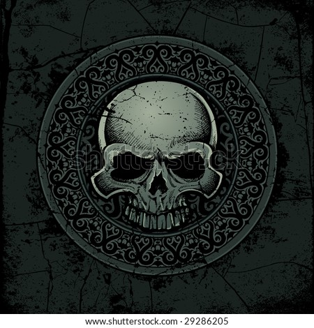 Vector illustration of an ancient gothic/celtic stone skull medallion - stock vector