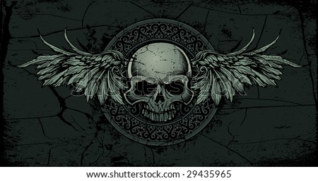 Vector illustration of an ancient gothic/celtic stone skull with wings medallion - stock vector