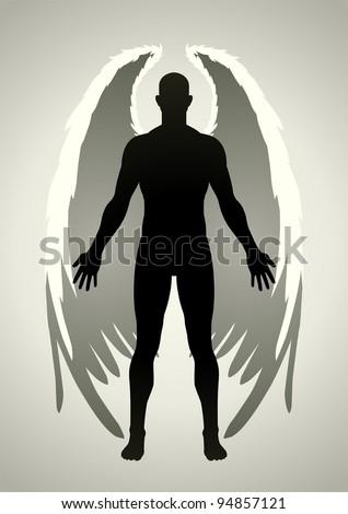 Vector illustration of an angel figure - stock vector