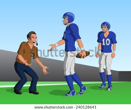 Vector illustration of an angry American football coach yelling at the team. - stock vector