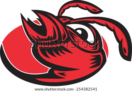 vector illustration of an angry hornet wasp red ant vespa crabro head mascot set inside oval on isolated white background. - stock vector