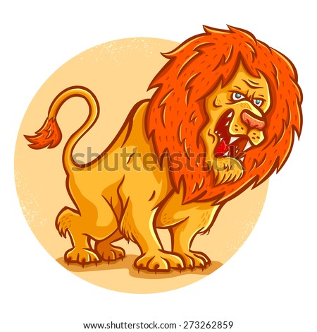 Vector illustration of an angry lion    - stock vector