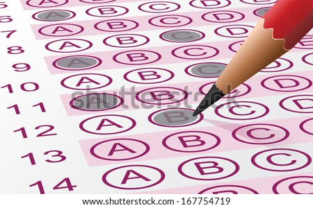 Vector illustration of an answer sheet with pencil - stock vector