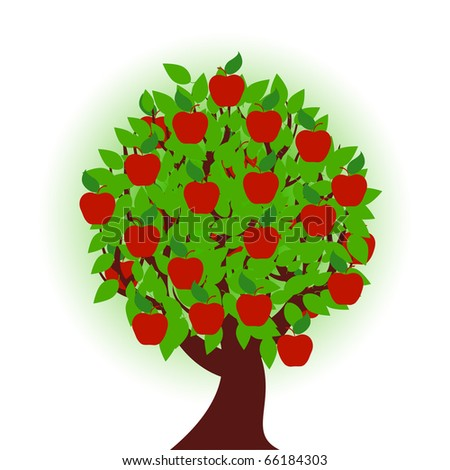 vector illustration of an apple tree on white background - stock vector
