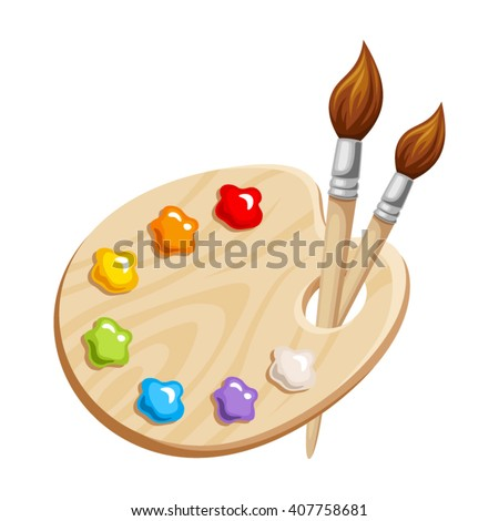 Vector illustration of an art palette with paints and brushes isolated on a white background. - stock vector