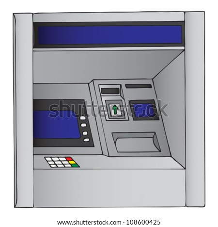 Vector illustration of an ATM, cash machine - stock vector