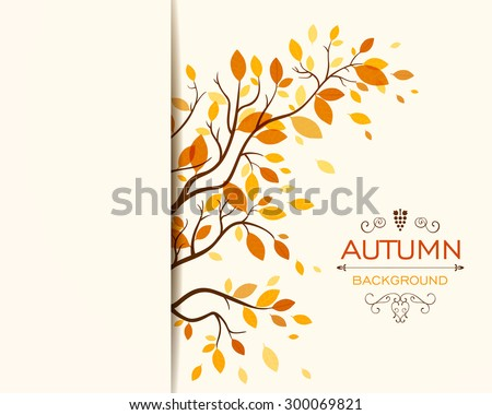 Vector Illustration of an Autumn Design with Autumnal Branch  - stock vector