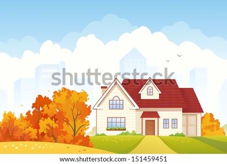 Vector illustration of an autumn suburban house - stock vector