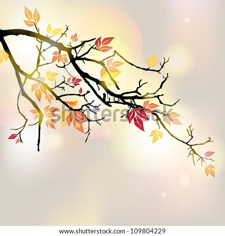 Vector illustration of an autumnal branch - stock vector