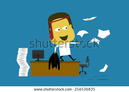 Vector illustration of an crazy employee standing on his desk throwing documents, stress and tie on its head - stock vector