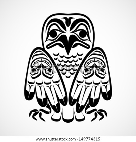 Vector illustration of an eagle. Modern stylization of North American and Canadian native art in black and white - stock vector