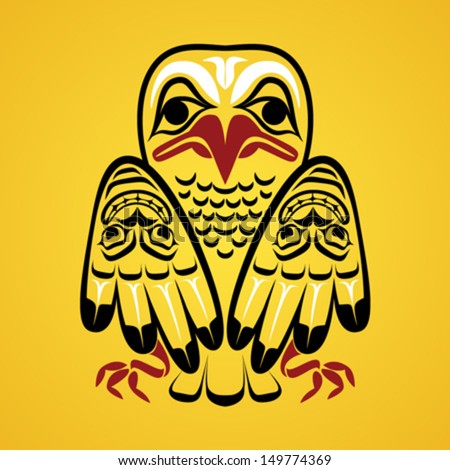 Vector illustration of an eagle. Modern stylization of North American and Canadian native art in traditional colors - stock vector