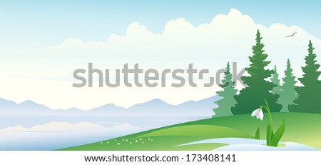 Vector illustration of an early spring landscape - stock vector
