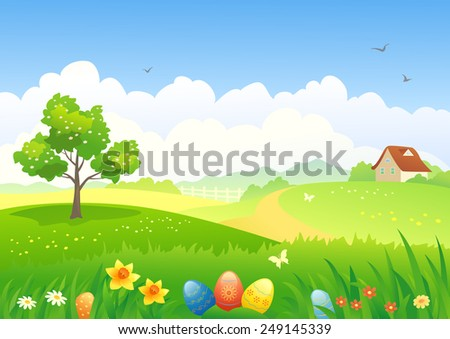 Vector illustration of an Easter countryside - stock vector